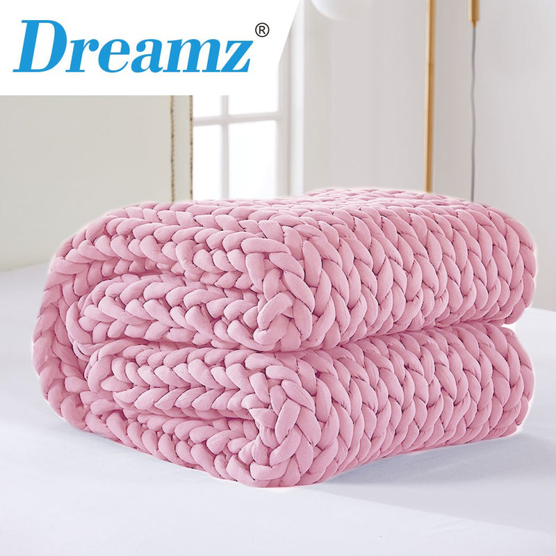 DreamZ Knitted Weighted Blanket Chunky Bulky Knit Throw Blanket 6.5KG Pink
