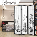 3 Panel Room Divider Privacy Screen Door Pine Wood Stand Fringe