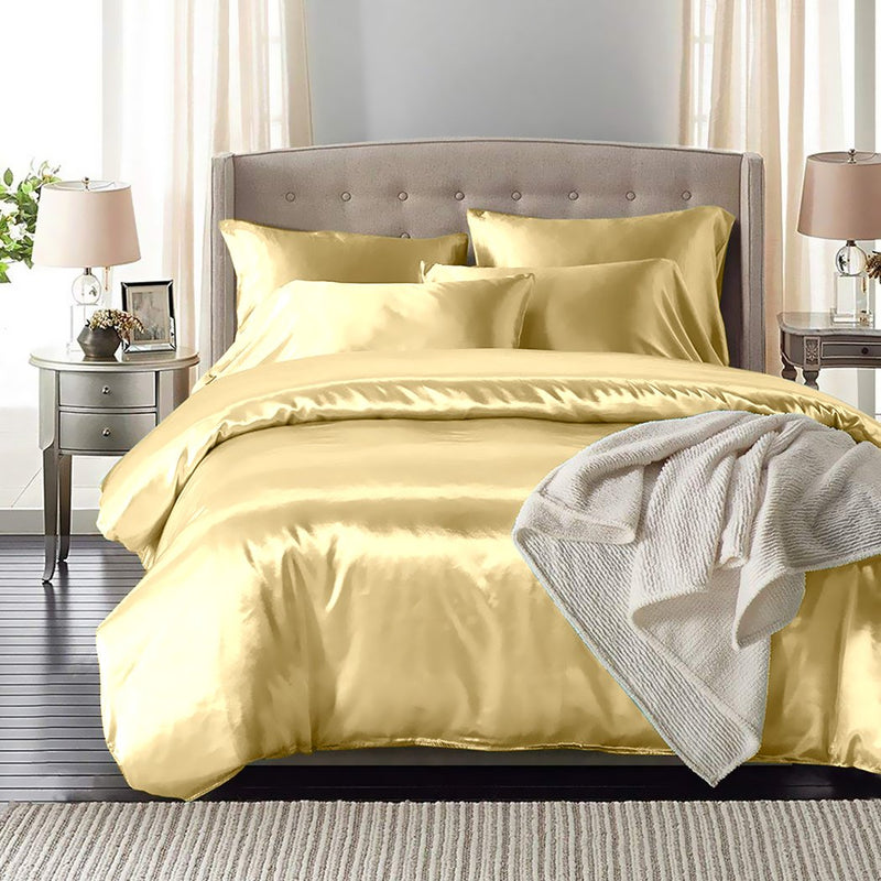 Silk Satin Quilt Duvet Cover Set in Queen Size in Ivory Colour