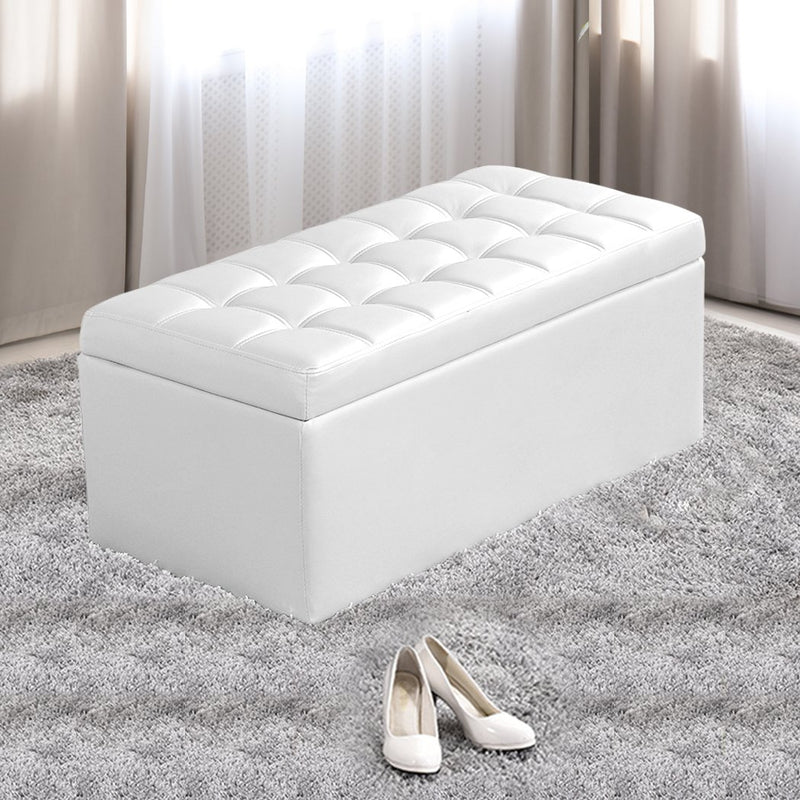 Blanket Box Storage Ottoman PU Leather Fabric Chest Toy Clothes Foot Stool Bed
