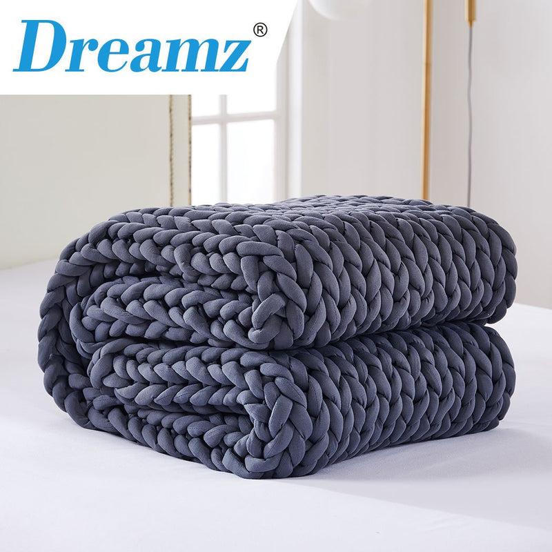 DreamZ Knitted Weighted Blanket Chunky Bulky Knit Throw Blanket 9KG Dark Grey