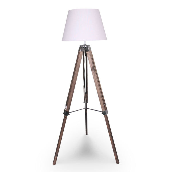 SOLID WOOD TRIPOD FLOOR LAMP ADJUSTABLE HEIGHT WHITE LINEN TAPER SHADE