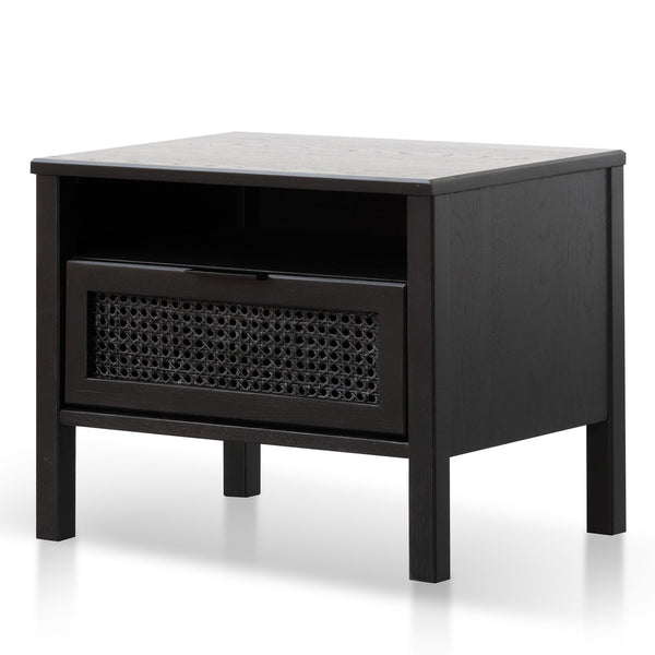 Wooden Bedside Table - Black