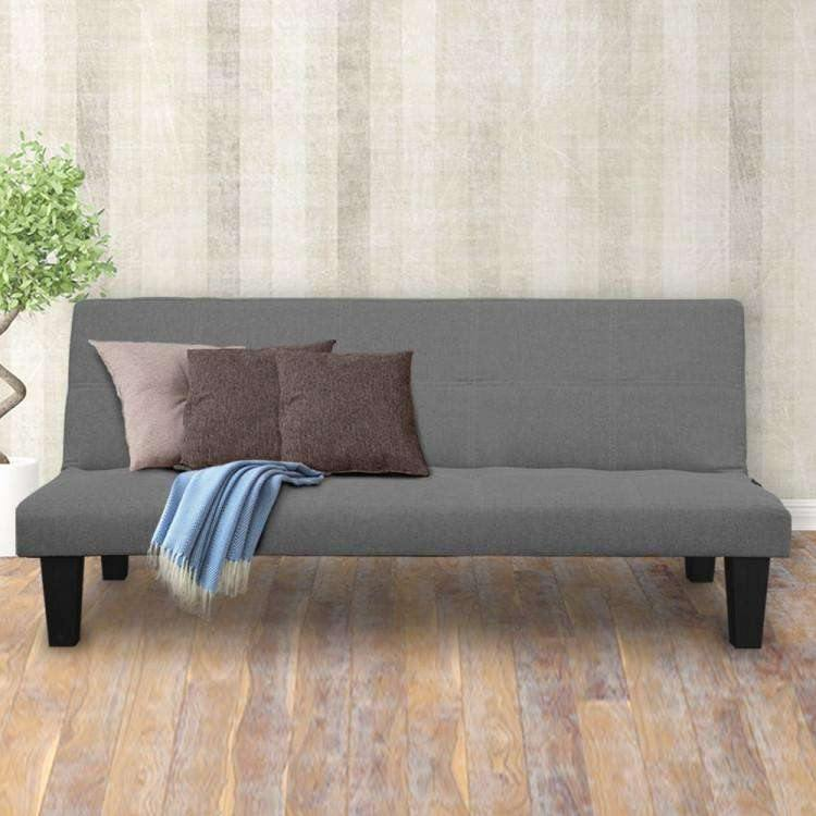 2 SEATER MODULAR LINEN FABRIC SOFA BED COUCH - DARK GREY