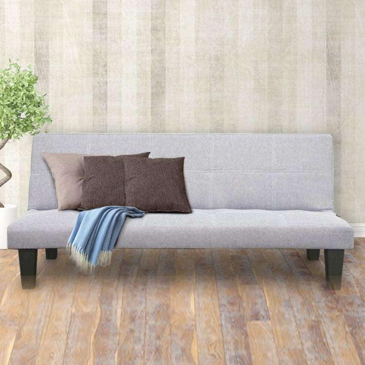 2 SEATER MODULAR LINEN FABRIC SOFA BED COUCH - GREY