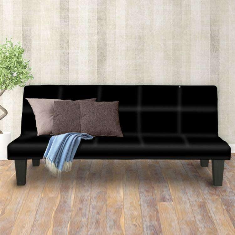 2 SEATER MODULAR LINEN FABRIC SOFA BED COUCH - BLACK