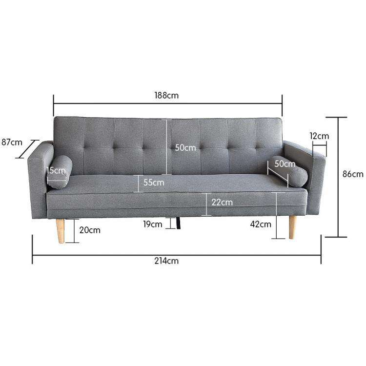 Madison Three Seater Sofa With Pillows - Light Grey
