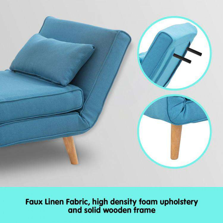 ADJUSTABLE CORNER SOFA SINGLE SEATER LOUNGE LINEN BED SEAT - BLUE