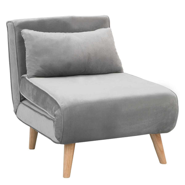 ADJUSTABLE CORNER SOFA SINGLE SEATER LOUNGE LINEN BED SEAT - LIGHT GREY
