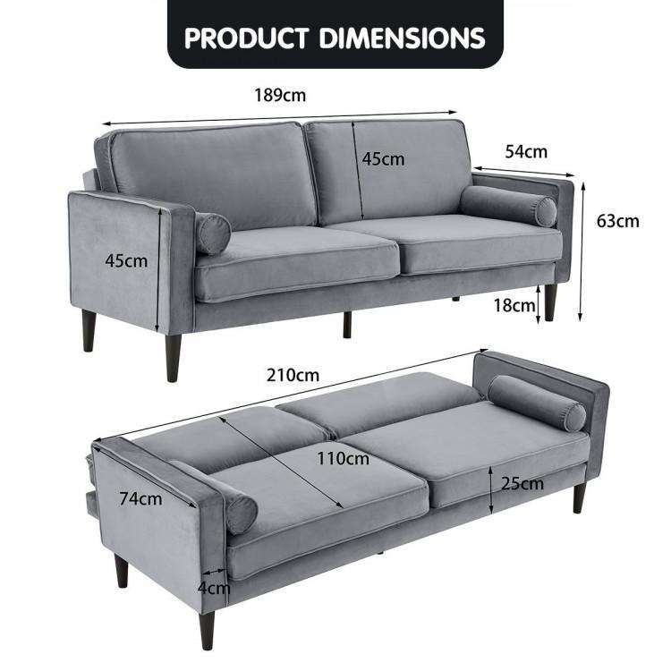 SARANTINO FAUX VELVET SOFA BED COUCH FURNITURE LOUNGE SUITE SEAT GREY