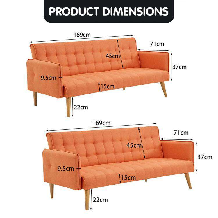 Sarantino 3 Seater Modular Linen Fabric Sofa Bed Couch Armrest Orange