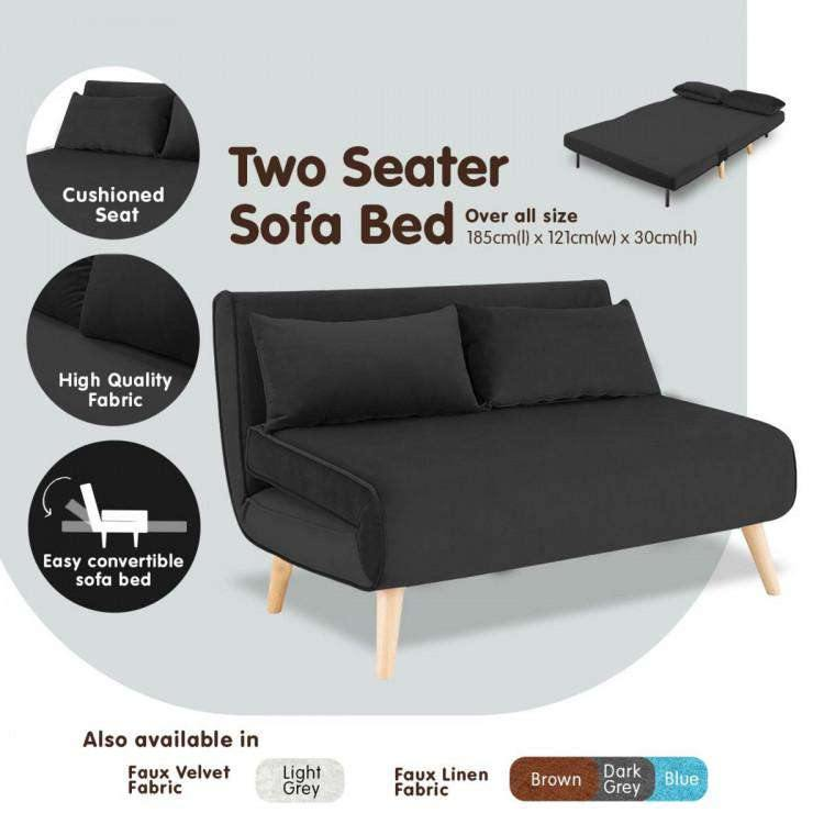2-SEATER ADJUSTABLE SOFA BED LOUNGE FAUX VELVET FABRIC - BLACK