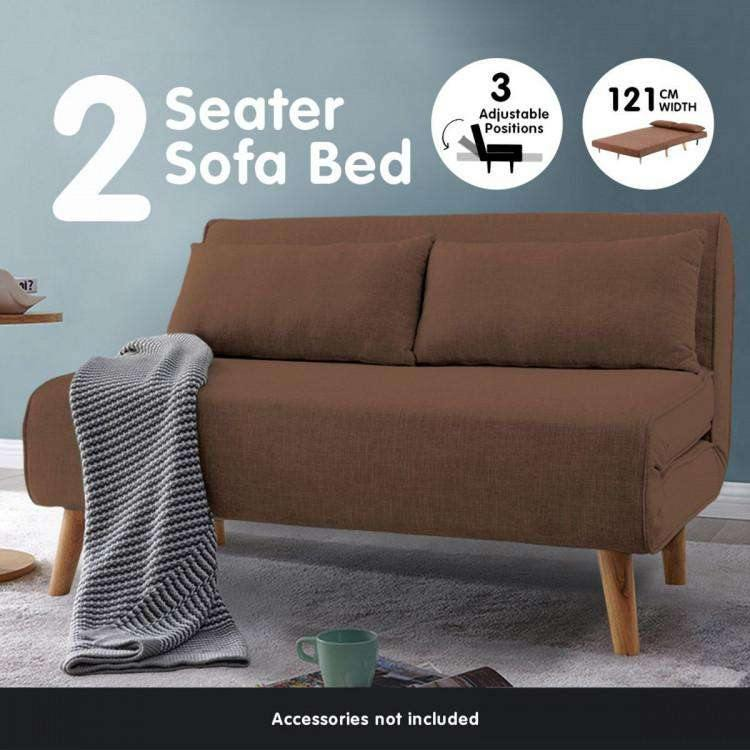 2-SEATER ADJUSTABLE SOFA BED LOUNGE FAUX VELVET FABRIC - BROWN