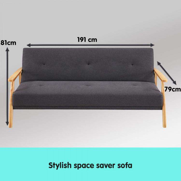THREE SEATER LINEN FABRIC SOFA BED LOUNGE COUCH FUTON - DARK GREY