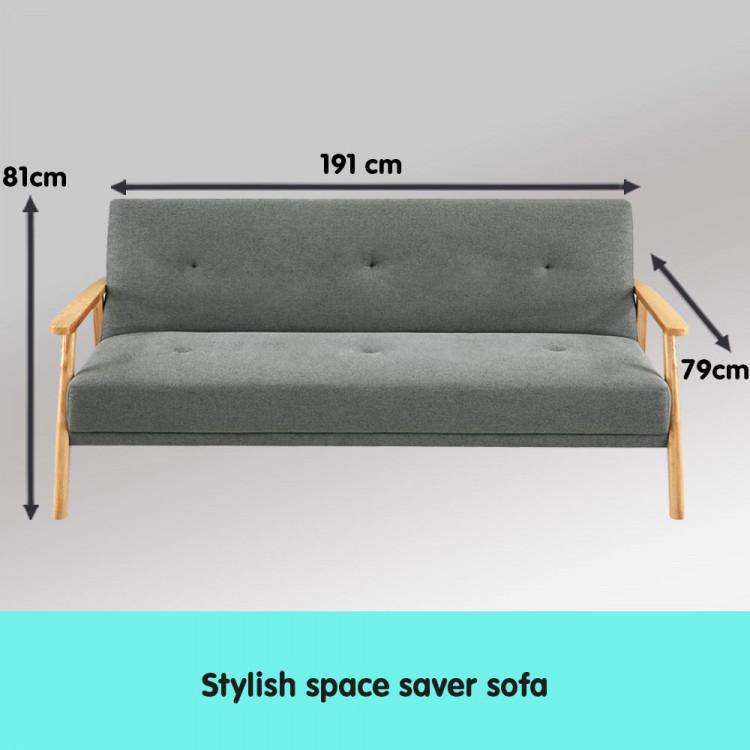 THREE SEATER LINEN FABRIC SOFA BED LOUNGE COUCH FUTON - LIGHT GREY