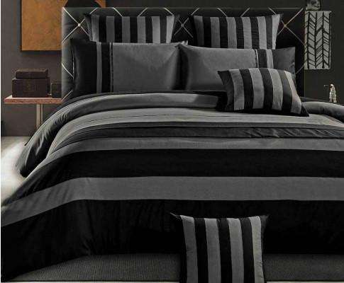 Luxton Black Sriped Quilt Cover Set(3PCS)