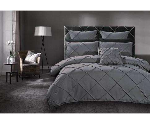 Luxton Grey Diamond Pintuck Quilt Cover Set(3PCS)