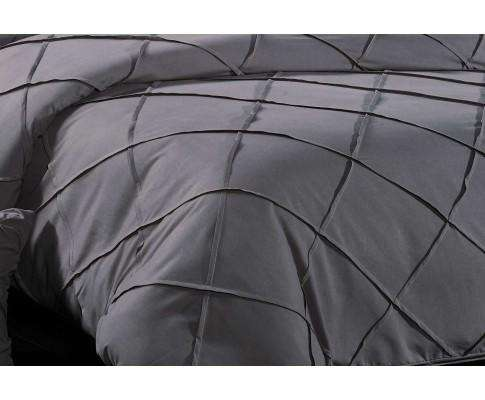 Luxton Grey Diamond Pintuck Quilt Cover Set