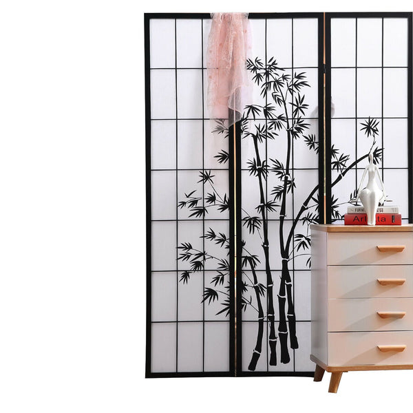 Three Panel Free Standing Foldable  Room Divider Privacy Screen Bamboo Print