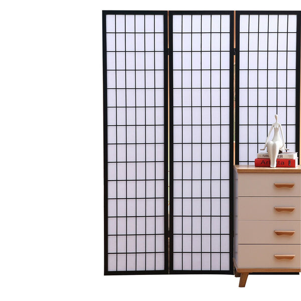 3 Panel Free Standing Foldable  Room Divider Privacy Screen  Black Frame