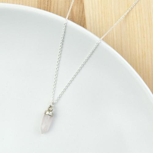 Mini Crystal Point Necklace Sterling Silver