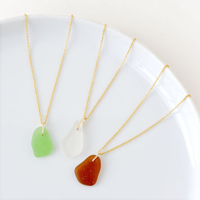 Beach Glass Necklace in Gold Fill