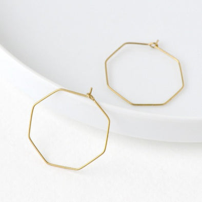 Brass Hex Earrings