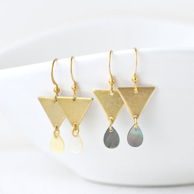 Aric Triangle & Shell Earrings