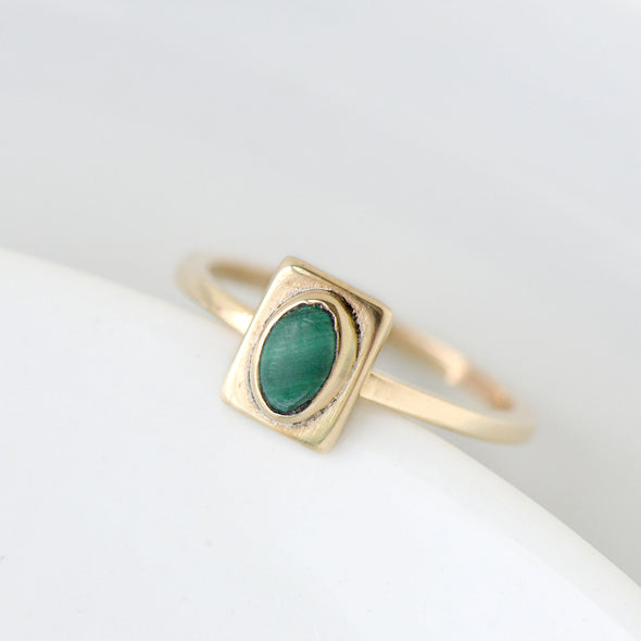 Malachite Square Ring in Bronze