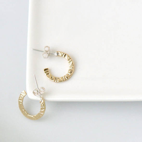 Naveen Textured Flat Hoop Earrings