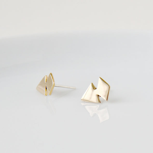 Triangle and Diamond Stud Earrings