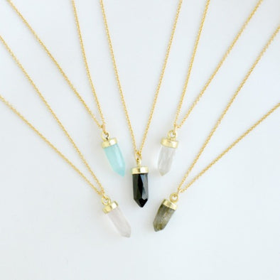 Mini Crystal Point Necklace Gold Fill