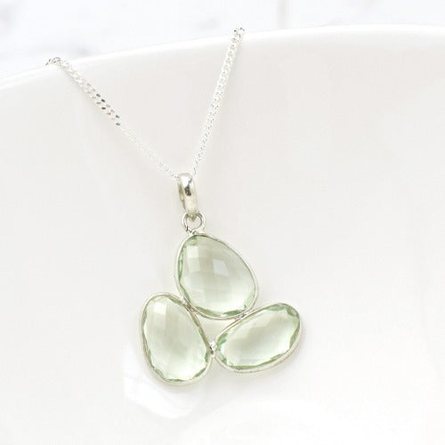 Three Stone Green Amethyst Necklace