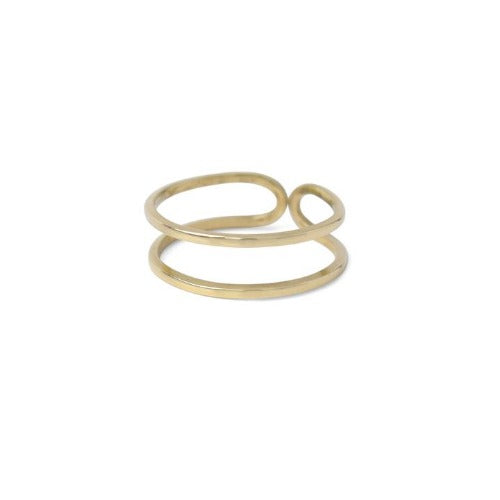 Riley Double Band Ring in Bronze