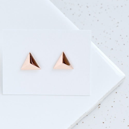 Faceted Triangle Stud Earrings