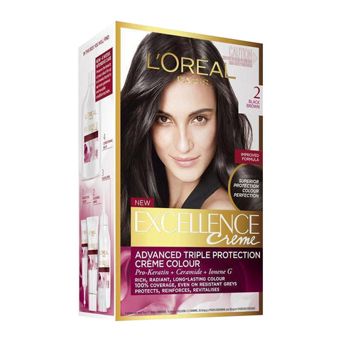 L'Oreal Excellence Creme Permanent Hair Colour 2 BLACK BROWN