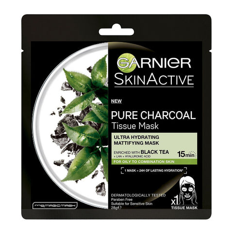 Garnier SkinActive Pure Charcoal Tissue Mask with Black Tea 28g