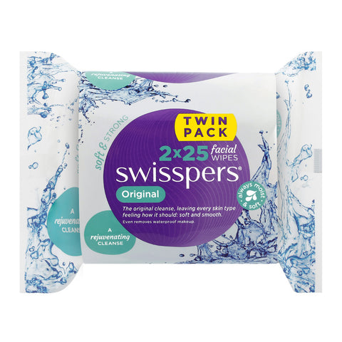 Swisspers Facial Wipes ORIGINAL Twin 2x 25pack