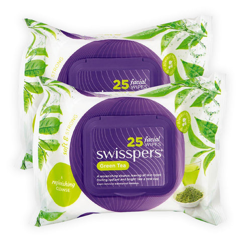 Swisspers Facial Wipes GREEN TEA Twin 2x 25pack
