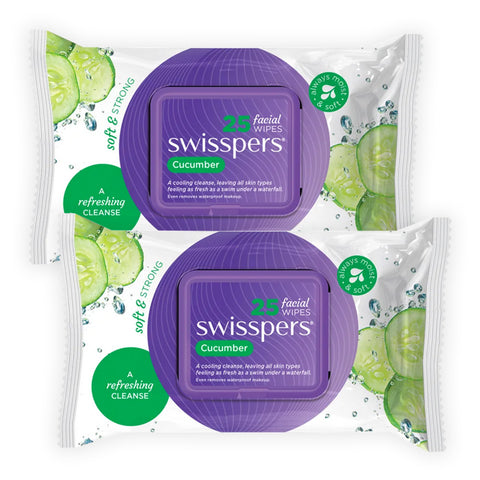 Swisspers Facial Wipes CUCUMBER Twin 2x 25pack