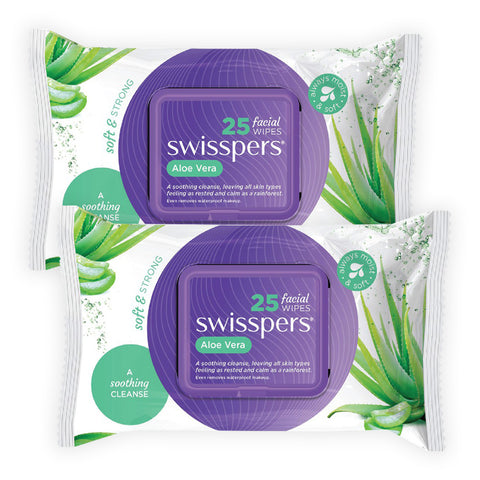 Swisspers Facial Wipes ALOE VERA Twin 2x 25pack