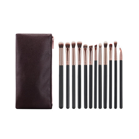 12pc Eye Makeup Brush Set - Rose Gold with case