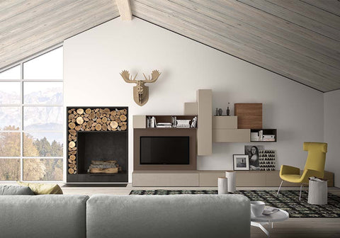 Spazio Wall Unit from Pianca, Italy in dark wood with taupe lacquer element