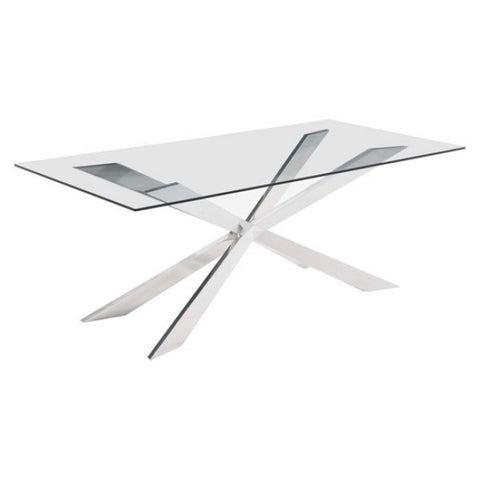Glass and Chrome Double X Dining Table