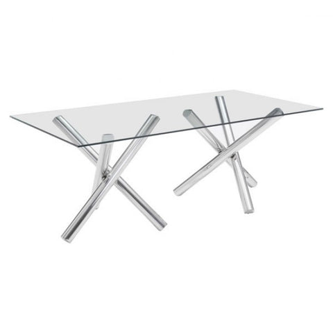 Glass and Chrome Dining Table