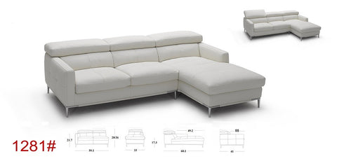 1281b Italian Leather Sectional