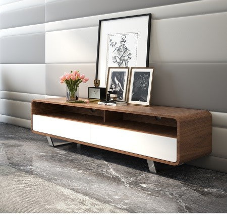 TV/Media Entertainment Center, walnut w/white gloss, 59x15,5x16H