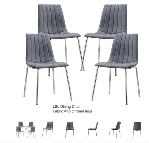 Modern Chic Dining Chair in fabric with chrome legs