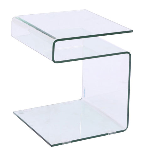 Bent Glass End Table or Nightstand  16x15x20H- can stand in various ways