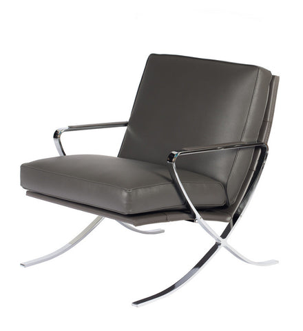 Pierre Leather Lounge Chair - 1 grey in stock -